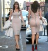 Carol Vorderman leaving ITV Studio in tight Victoria Beckham dress showing behind in high shoes