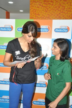 Bipasha Basu[Indian Actress] promotes her fitness DVD at Big FM Mumbai