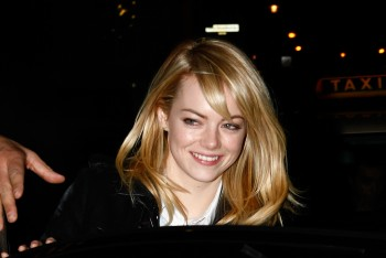 Emma Stone arriving at the Grand restaurant in Berlin