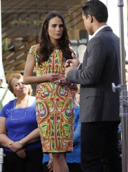 Jordana Brewster - on the set of Extra in LA 2/25/13