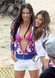 Adriana Lima & Alessandra Ambrosio - Victoria's Secret photo shoot in LA 3/7/13
