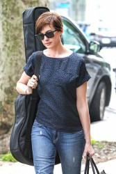 Anne Hathaway - on the set of 'Song One' in NY 6/11/13