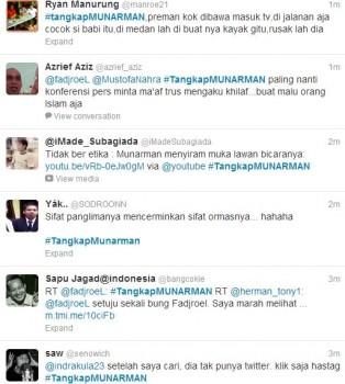 Twitter / #TangkapMUNARMAN