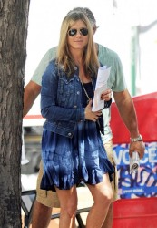 Jennifer Aniston - on the set of 'Squirrels to the Nuts' in NYC 7/30/13