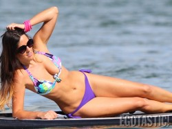 Claudia Romani - paddleboarding in Miami 7/30/13