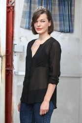 Milla Jovovich - on the set of 'Cymbeline' in NYC 8/27/13