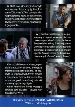 Tył ulotki filmu 'Dziedzictwo Bourne'a'