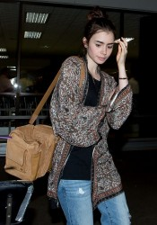 Lily Collins - at LAX Airport 9/11/13