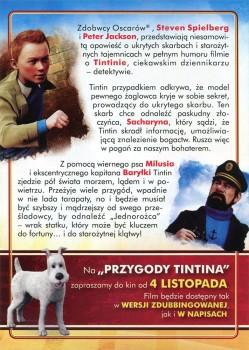 Tył ulotki filmu 'Przygody Tintina'