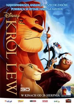 Przód ulotki filmu 'Król Lew 3D'
