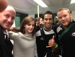 Emma Watson With a Rugby Team on a Train in England - September 2013
