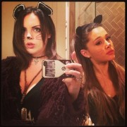 Elizabeth Gillies and Ariana Grande Dressed as Cats - October 16, 2013