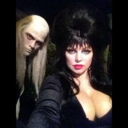 Fergie Dressed as Elvira at Kate Hudson's Halloween Party in Beverly Hills on October 26, 2013